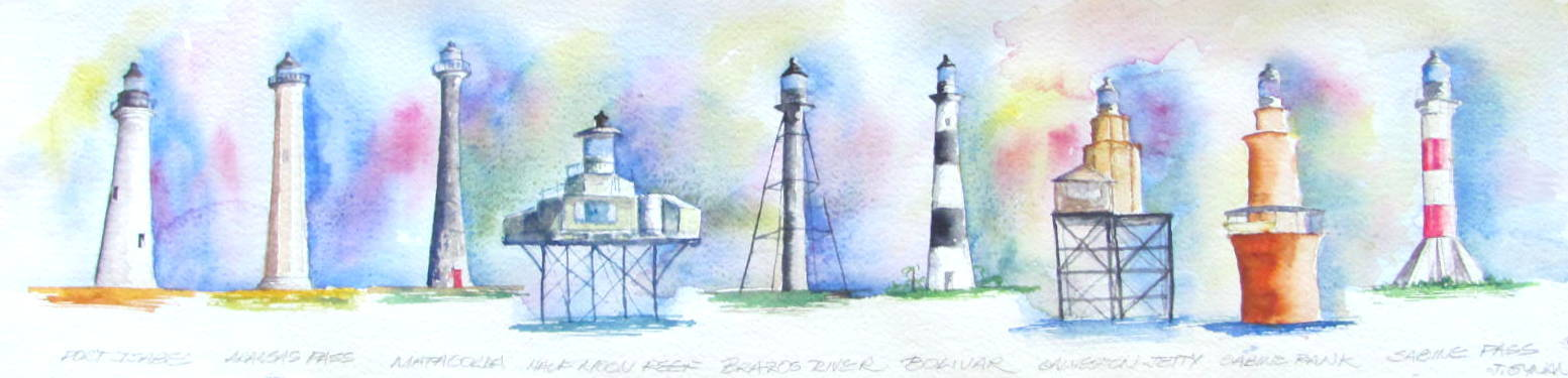 Texas historic lighthouses 8 x 30 water color