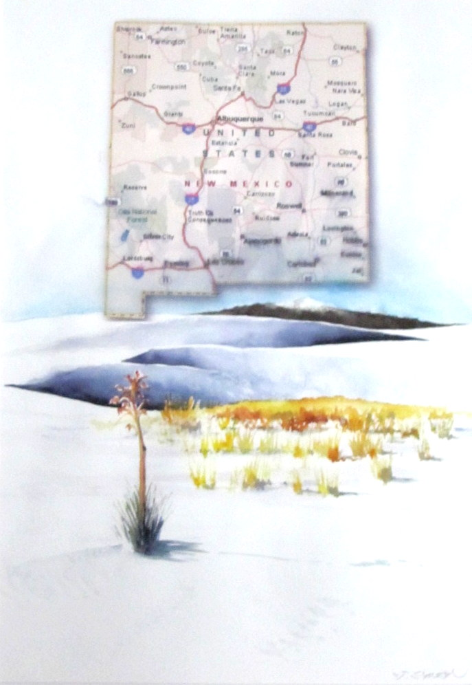 18 x 24 map painting – New Mexico White Sands