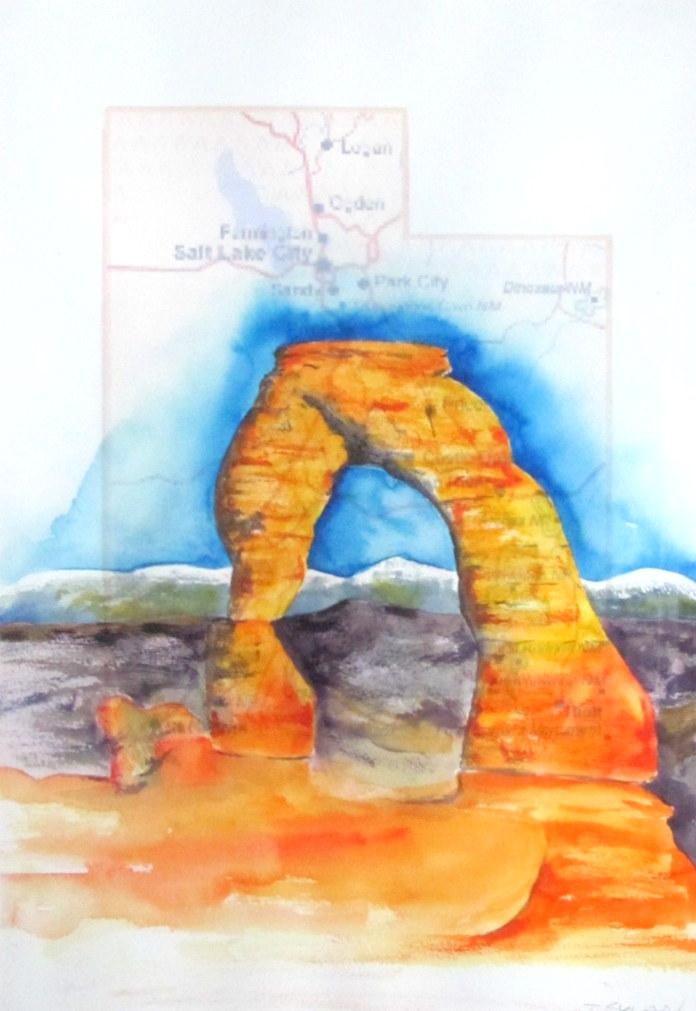 18 x 24 map painting – Utah Delicate Arch